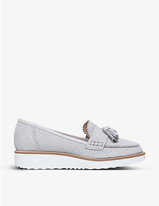 CARVELA: Limbo snake-embossed leather loafers