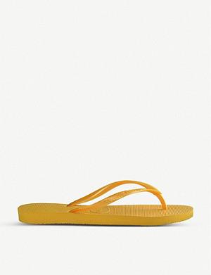 sports shoes e4ca0 d73b3 HAVAIANAS - Slim velvet-strap flip flops | Selfridges.com