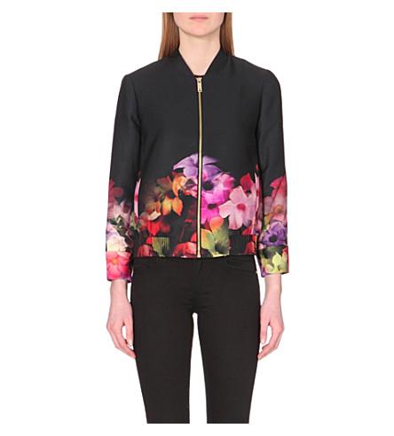 2dd95e777 TED BAKER Floral satin bomber jacket (Black
