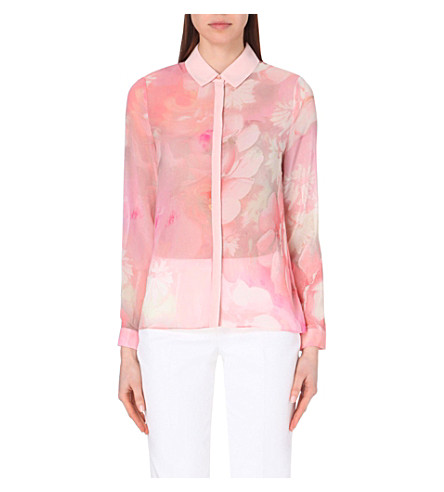 3477df42a3f134 TED BAKER - Rosle rose on canvas chiffon shirt