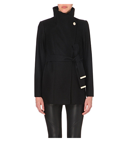 91bff11b0df1 TED BAKER Paria wool blend wrap coat on PopScreen