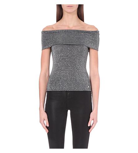 a40d8922d1472 TED BAKER Off-the-shoulder metallic top (Black