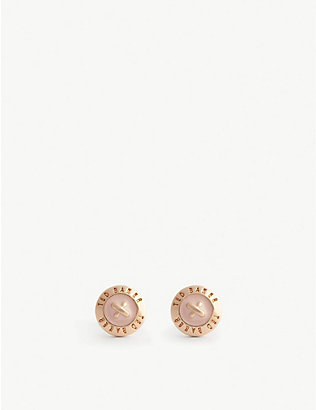TED BAKER: Eisley enamel mini button earrings