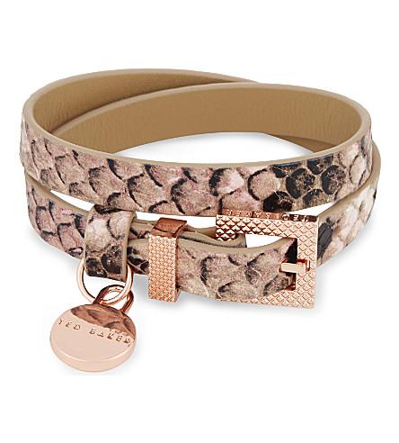 3c93c9035e72 TED BAKER - Snakeskin-embossed double wrap leather bracelet ...