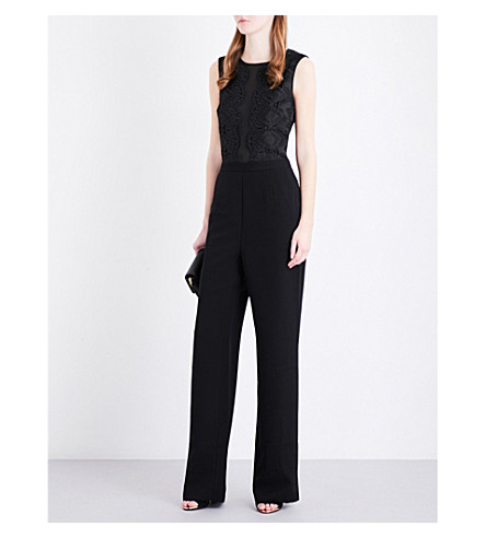 bd0dce306a4f ... TED BAKER Lace panel chiffon and crepe jumpsuit (Black. PreviousNext