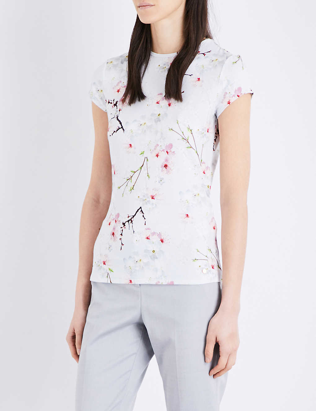 67dc3f3f2 TED BAKER - Millie Oriental Blossom stretch-jersey T-shirt ...