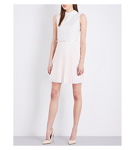 a6e369abe7eda TED BAKER Fit-and-flare lace and chiffon dress (Ivory
