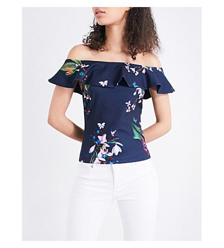 590453082df89 TED BAKER - Imygen floral off-the-shoulder jersey top