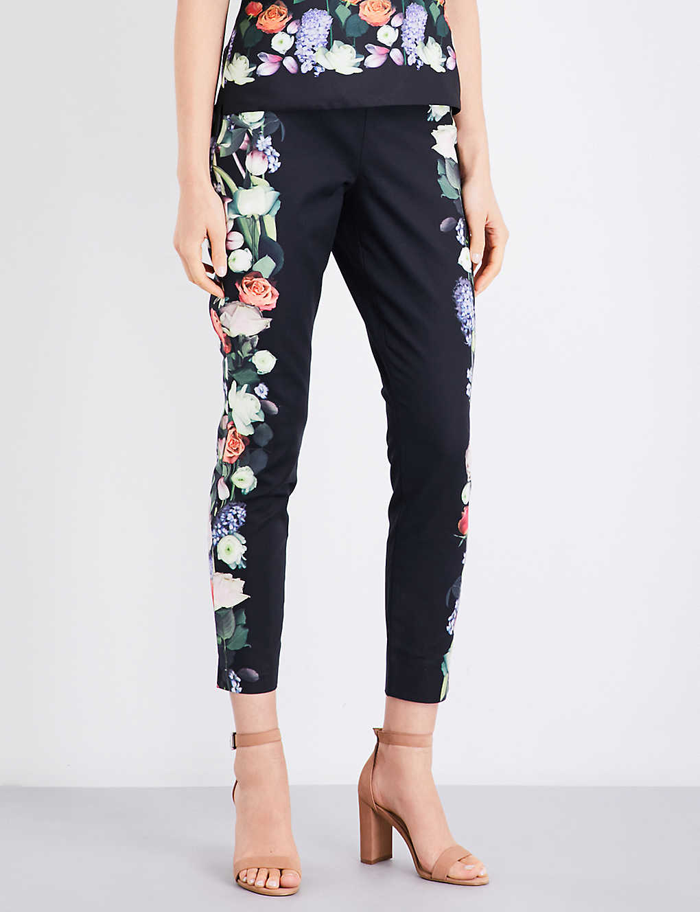 6092df571041 TED BAKER Bayner Kensington Floral-print tapered stretch-cotton trousers