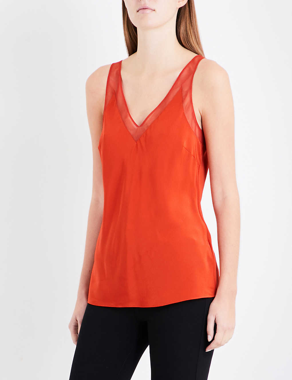 38a2b88c11335 TED BAKER - Leiaa mesh-trim silk-satin top