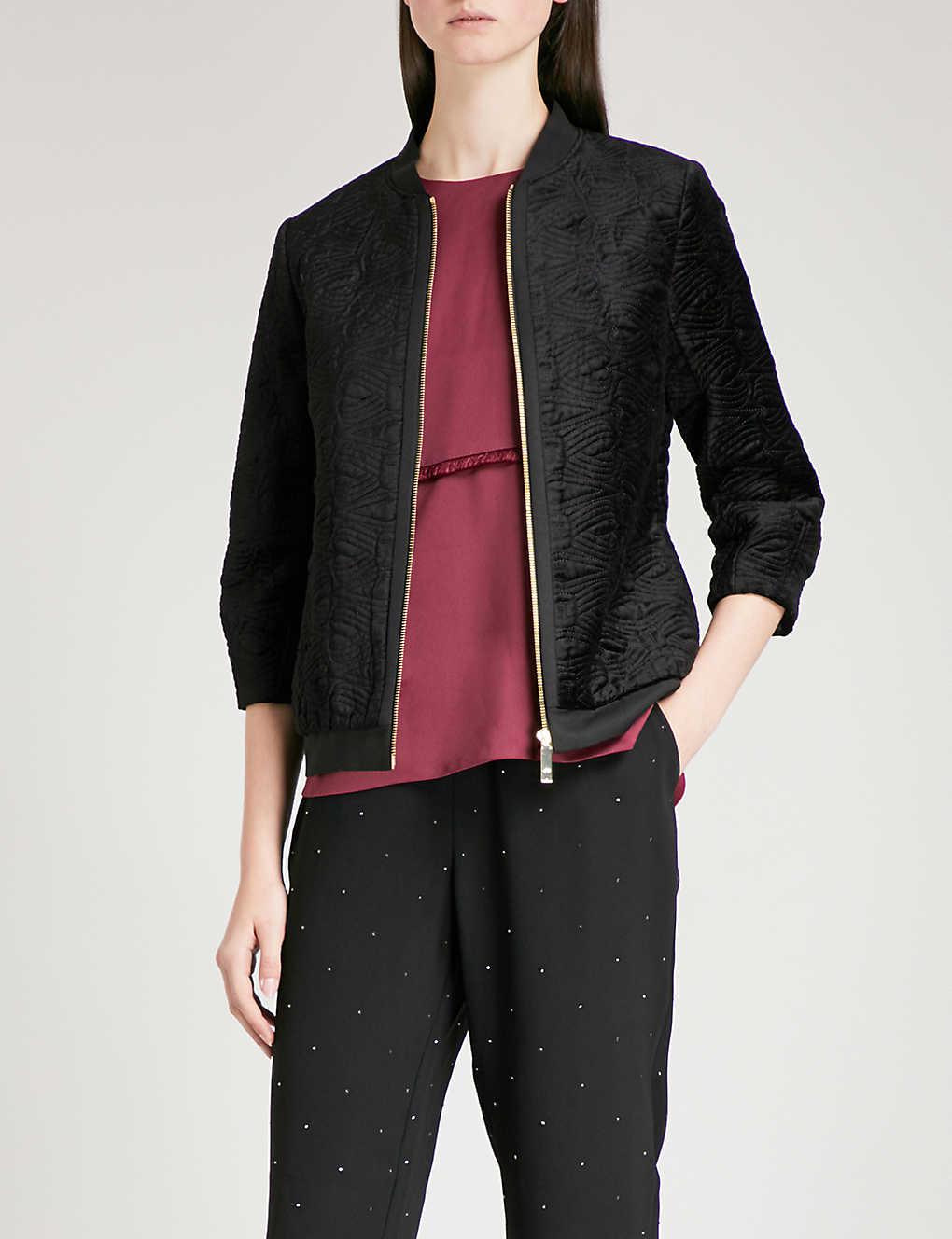 2059d1475 TED BAKER - Bartel heart-motif velvet bomber jacket