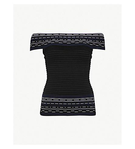 51cb53188c99b TED BAKER Hanyie off-the-shoulder stretch-knit Bardot top (Black