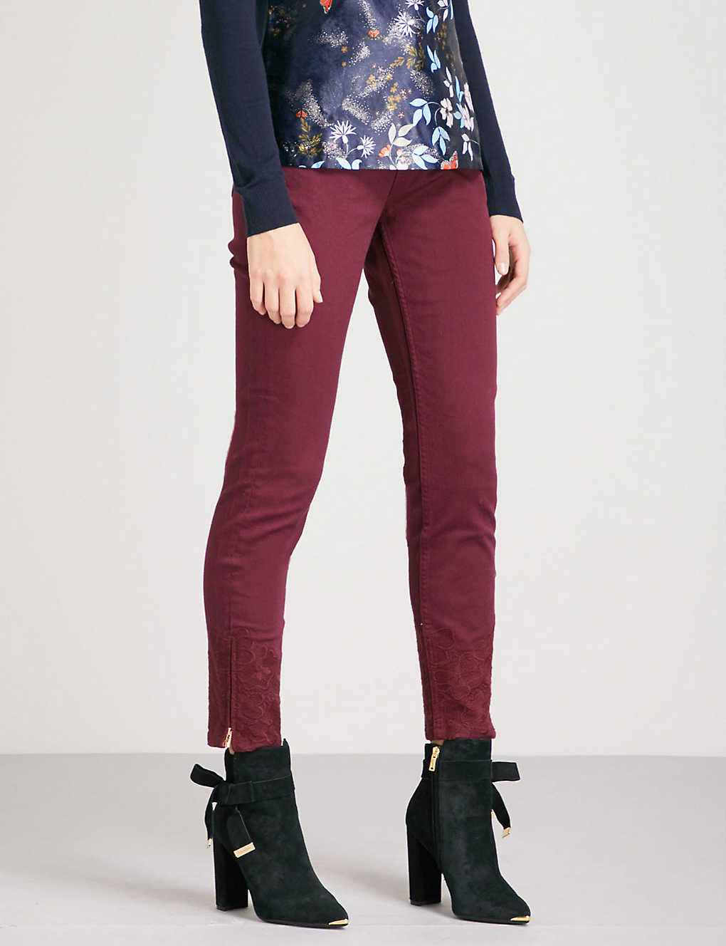 66248dd50 TED BAKER - Astasia embroidered skinny mid-rise jeans