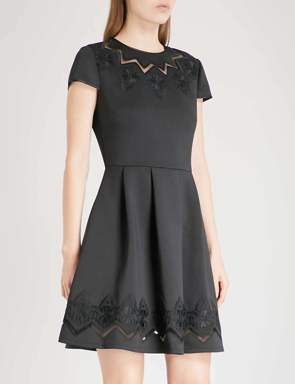 5ba0189190b TED BAKER - Cheska lace-panelled stretch-jersey mini dress ...