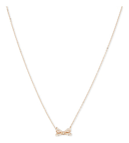 abf5a7ced83 TED BAKER Olessi crystal bow necklace (Rosegold+col