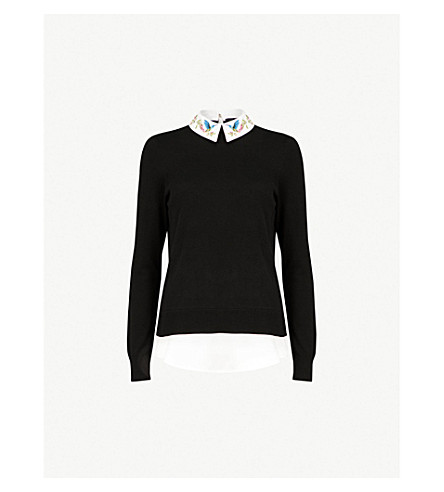 f1fbe1cdc5dc0d TED BAKER - Kentro embroidered-collar knitted jumper   Selfridges.com