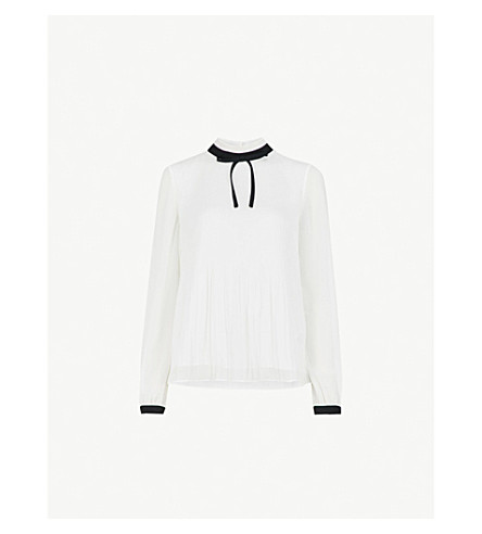 2c0ba54a2cdb TED BAKER - Pleated high-neck chiffon top | Selfridges.com