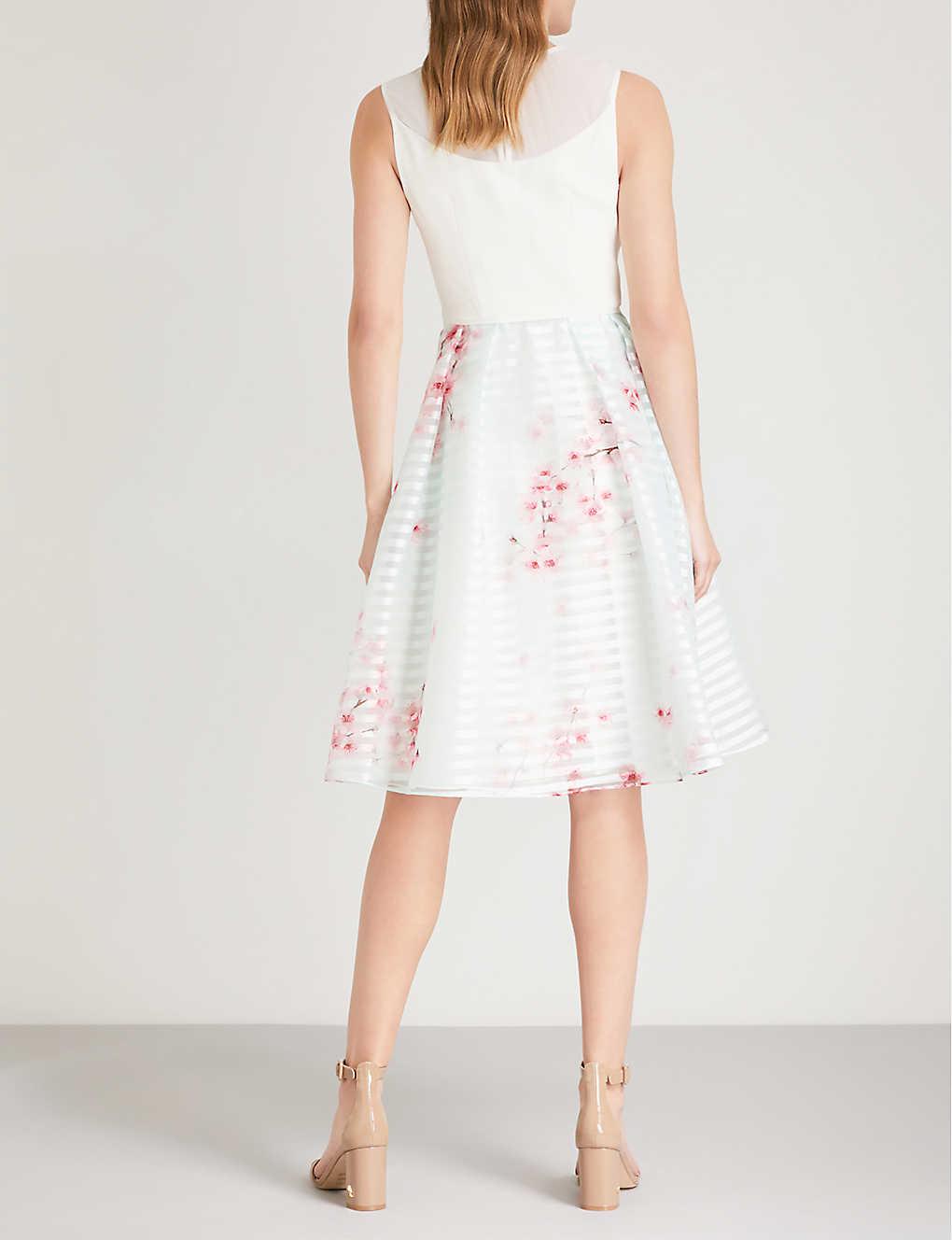 21605a46c TED BAKER - Idola Soft Blossom-print crepe and organza dress ...