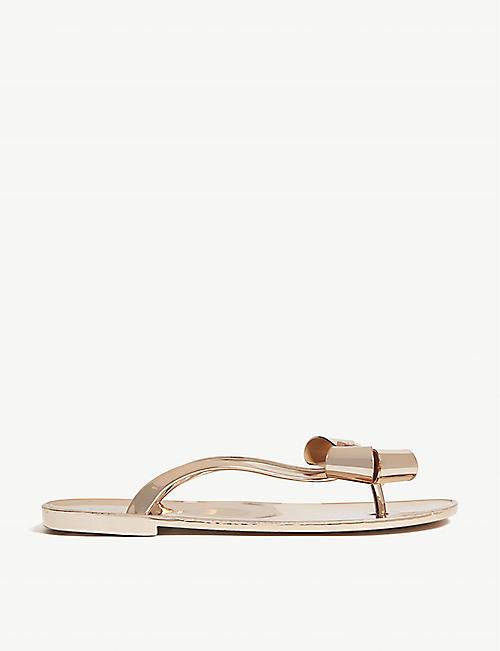 a1e5bc5d5406 TED BAKER Glamari bow-detail metallic jelly sandals