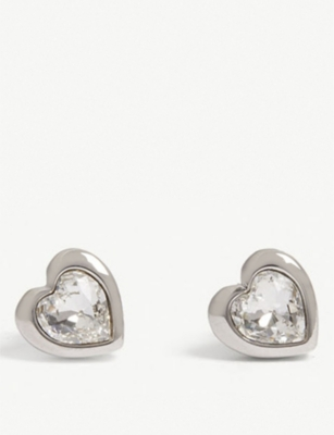 TED BAKER Han crystal heart stud earrings