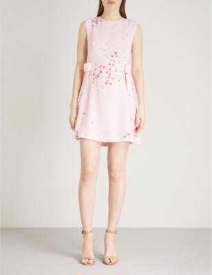 8d6defe85fa TED BAKER - Seela bow-detail floral-print crepe de chine mini dress    Selfridges.com