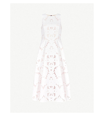 3e1aa5602740f0 TED BAKER Damask devoré stretch-cotton midi dress (Ivory