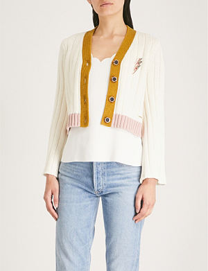 8388016a19fb65 Syrinaa The Orient silk and cashmere cardigan. TED BAKER Lightning bolt pin  cotton-linen blend cardigan