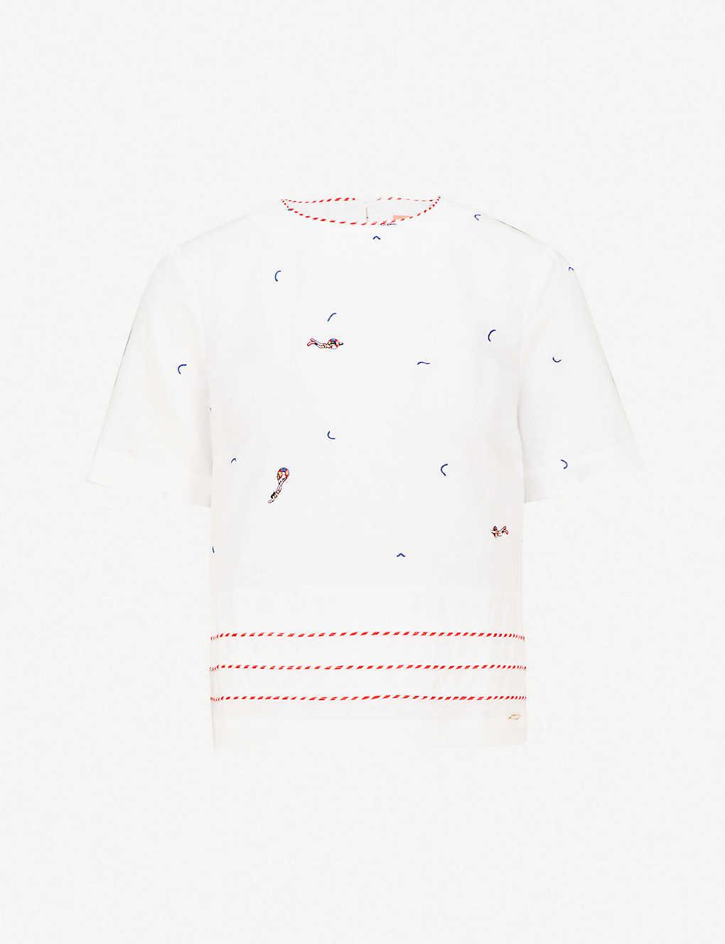 bb5ea1eb TED BAKER - Nolene linen and cotton-blend top | Selfridges.com