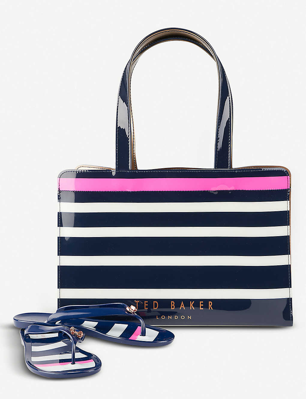 dd8fa734e TED BAKER - Ned striped tote bag and flip flop set