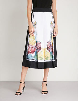 9f74be080ed89d TED BAKER - Highgrove pleated satin-twill culottes