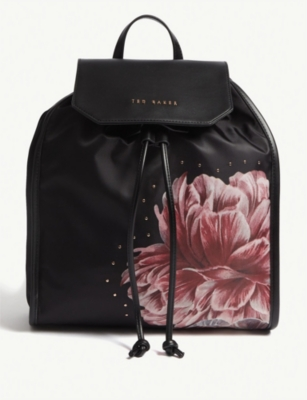 baf37c924a80 TED BAKER - Tranquility print faux-leather drawstring backpack ...