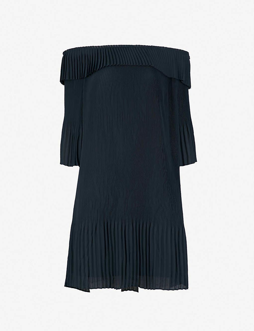 1bc049e8 TED BAKER - Pleated off-the-shoulder Bardot dress | Selfridges.com