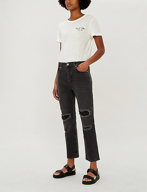 93f8551bded TED BAKER Sequin-patch straight-leg mid-rise jeans · Quick Shop