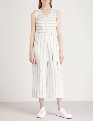 d7c863559e88 TED BAKER Striped-pattern linen-blend jumpsuit