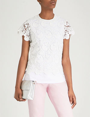 ed5a384a120f8c TED BAKER Kitta embroidered lace cotton-blend T-shirt