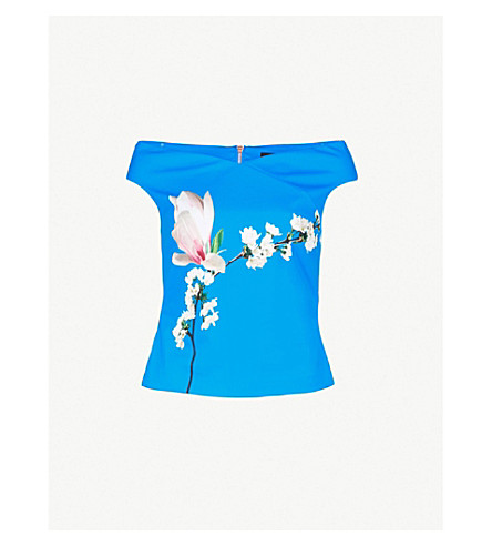 06d82f50d38a2 TED BAKER - Amandla Harmony off-the-shoulder floral-print jersey top ...