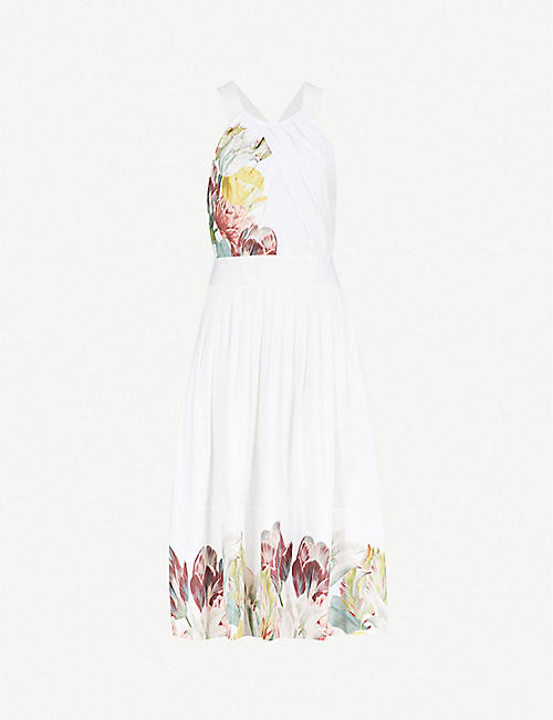 089587e6fce TED BAKER Reetah Tranquility floral-print stretch-cotton dress
