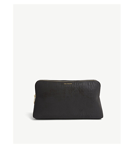 5181b15435 TED BAKER Tawny croc-embossed faux-leather washbag (Black