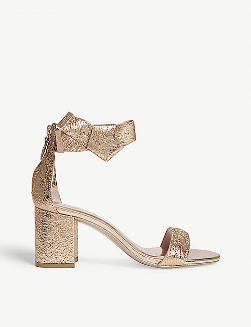 0586fbaa68001 ... TED BAKER - Kerria bow ankle block heel sandals Selfridges.com first  rate 79585 6e2ad  Ted Baker Kerrias Rose Gold Leather ...