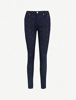 a9ae0435298 TED BAKER Embroidered star-print stretch-denim skinny jeans (Navy