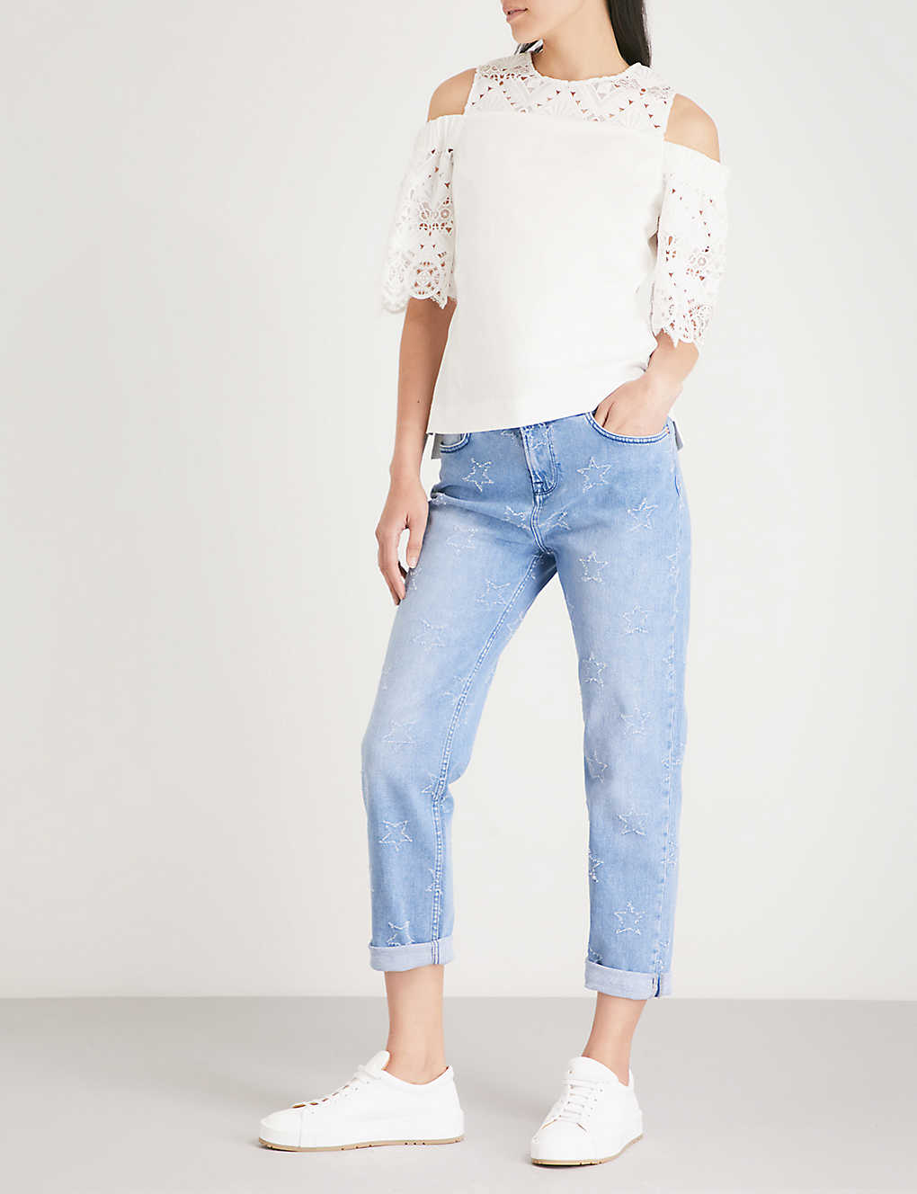 539e624b5e9 TED BAKER - Lurra star-embroidered boyfriend-fit low-rise jeans ...