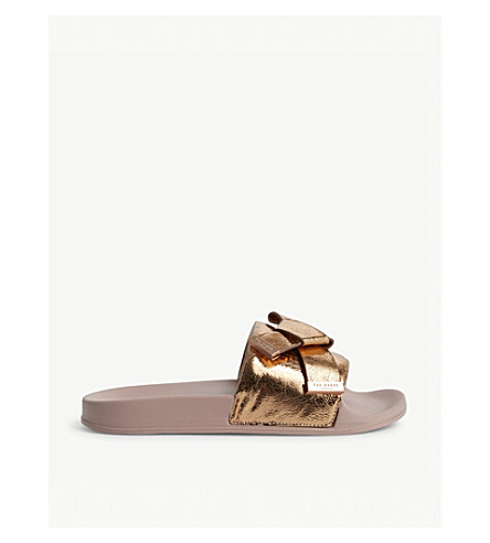 efd073d1c TED BAKER Melvah knotted bow sliders (Rose+gold