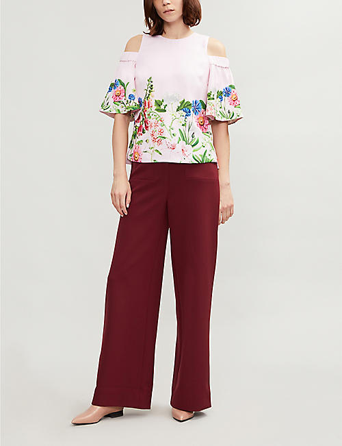 TED BAKER Beyaa cutout shoulder woven top