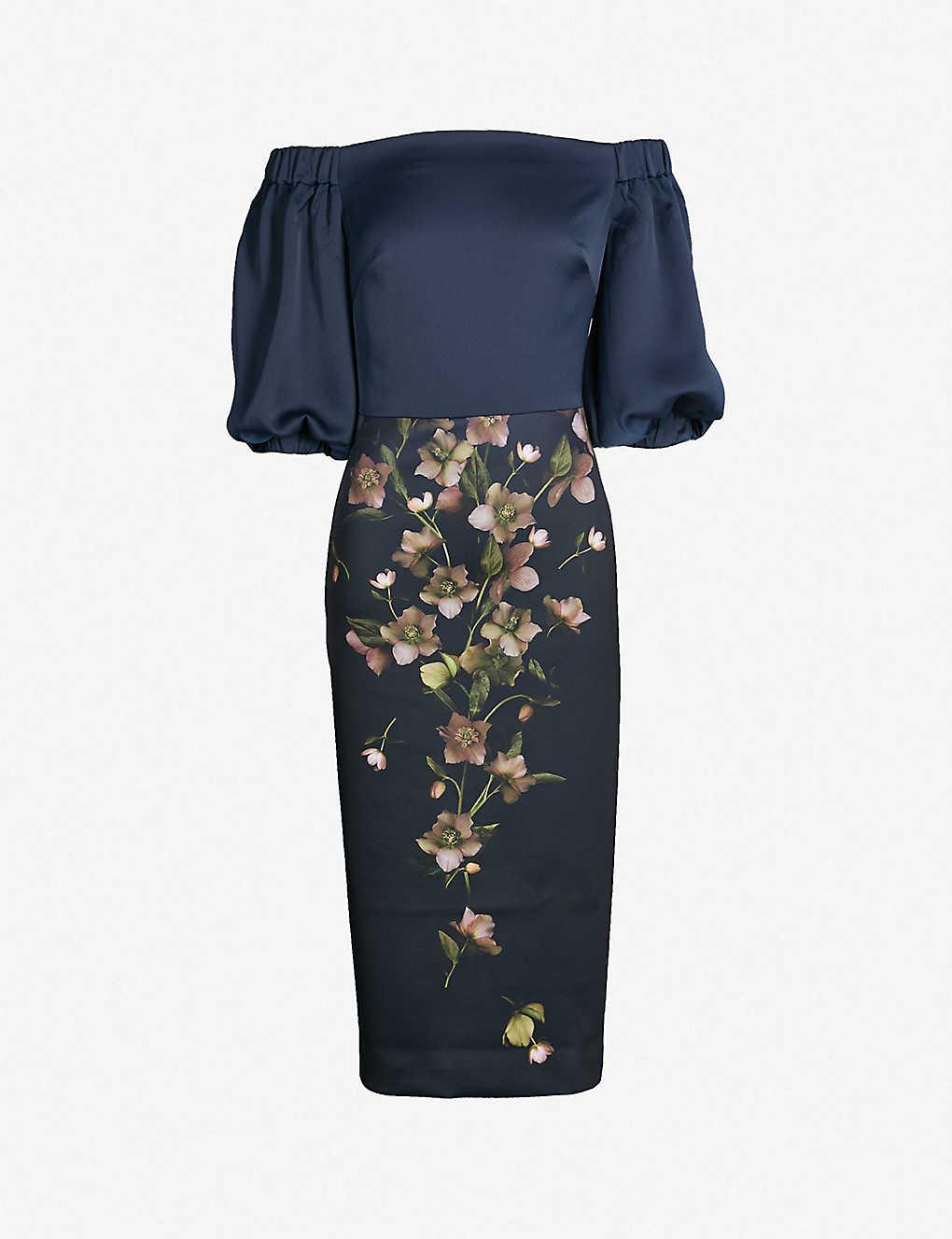 d17ed6d54 TED BAKER - Beaa floral printed satin pencil dress | Selfridges.com