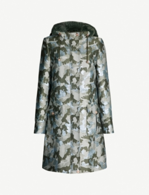 TED BAKER Eleanaa faux fur-trimmed camouflage-print shell coat