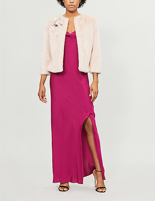 TED BAKER Kaatya embellished faux-fur jacket