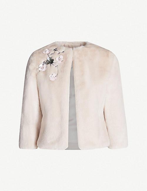 a9563fc6c28 TED BAKER Kaatya embellished faux-fur jacket