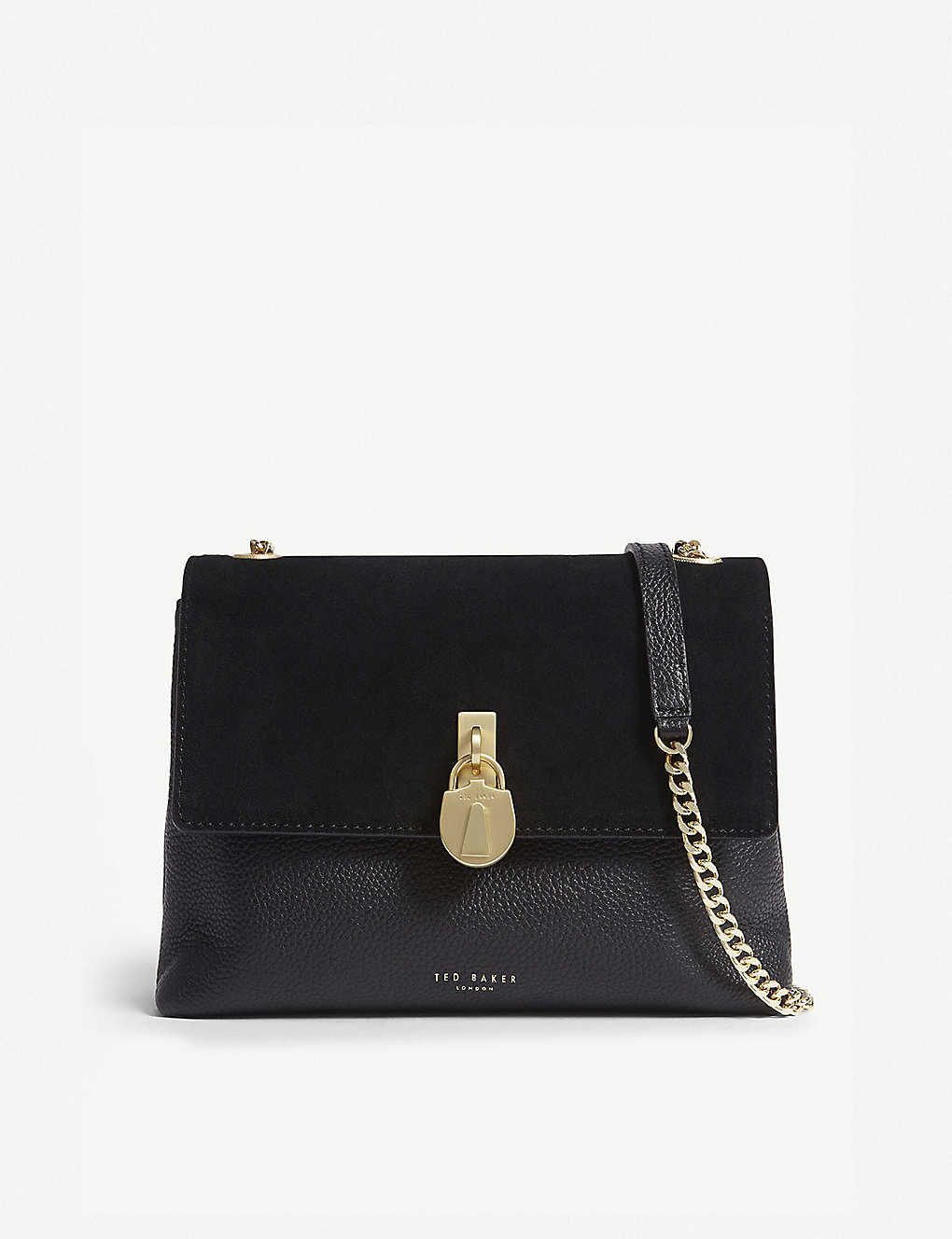 e10653b47485 TED BAKER - Helena suede and leather cross-body bag