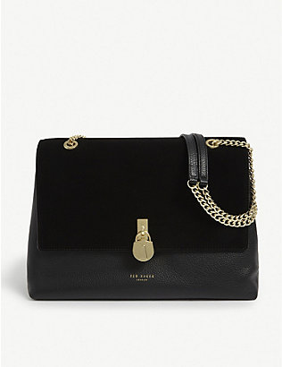 TED BAKER: Hermiaa suede and leather shoulder bag