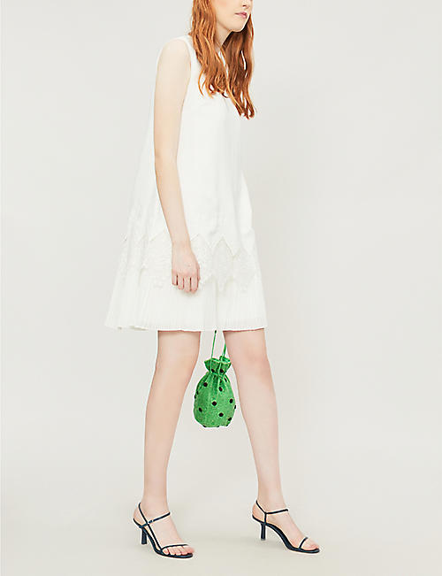 TED BAKER Nadeen lace-trim crepe dress